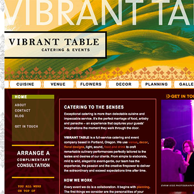 Website for Vibrant Table