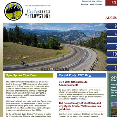 Website for Cycle Yellowstone.